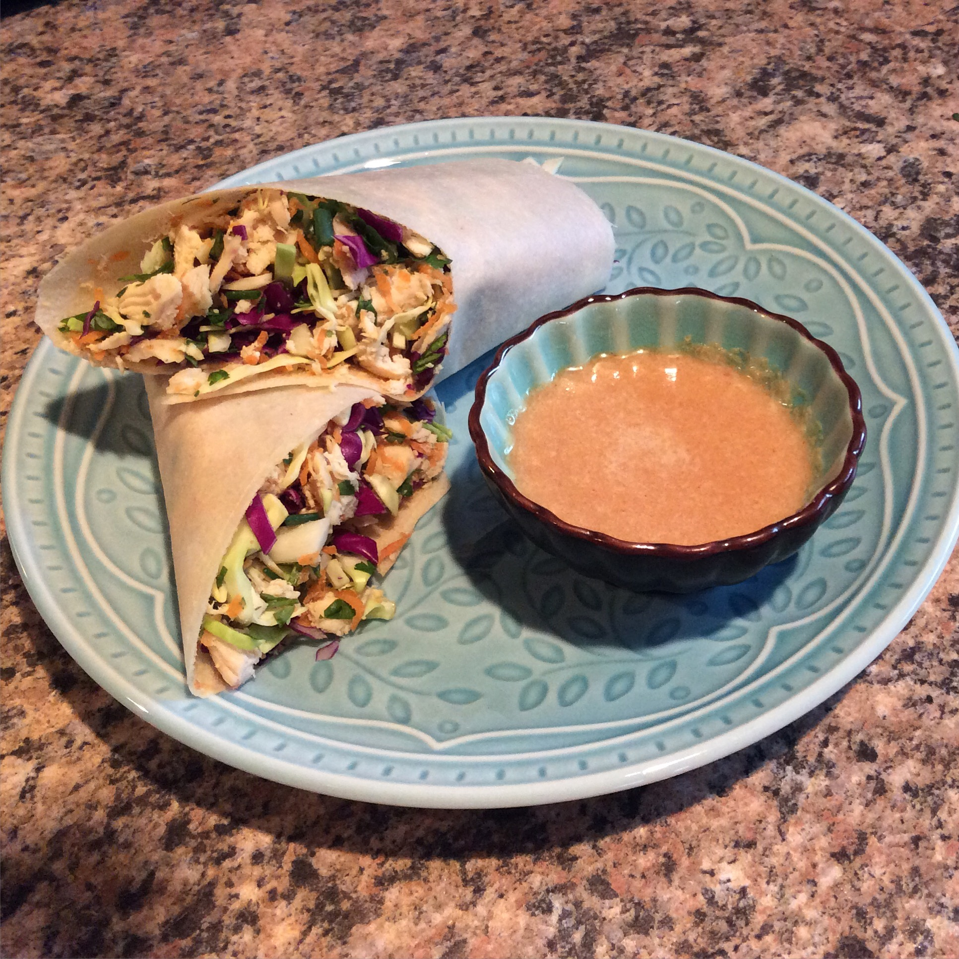 Chicken Wraps with Spicy Dipping Sauce